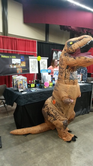 Mr. T Rex and a truly great friend of mine stopped by the booth to show support.